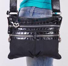BRIGHTON Small Black  Leather Crossbody Shoulder Hobo Tote Satchel Purse Bag