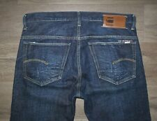 Men's G-STAR RAW 3301 Button Fly Straight Fit Dark Jeans Size 34 x 34