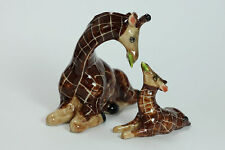 Miniature Ceramic Animals Family geraffe Figurine Statue Decorative Collectibles
