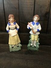 Antique Lot Of 2 5� All Bisque German Music Doll Figurines