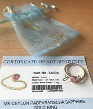 18K Ceylon Padparadscha sapphire gold ring with certificate size N