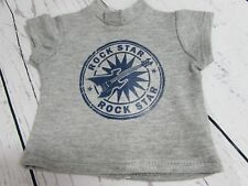 Gray ROCK STAR Graphic T-Shirt fits American Girl Dolls or Boy Dolls