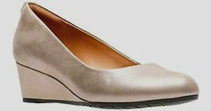 Clarks VENDRA Comfort Wedge Pump New Women's 11 N Leather NIB Metallic CHAMPAGNE