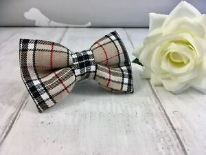 Dog Bow Tie Burberry Inspired Dog Bow Tie Dog Accessories Tartan Dog Bow Tie