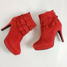 """2 Lips Too Larz High Heel Ankle Boots Red 3"""" Ruffle Heels Holiday Booties Size 8"""