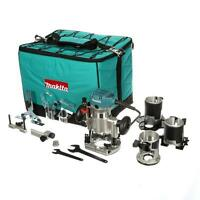 Makita 1-1/4 HP Compact Router Kit with 3-Bases Wood Tool