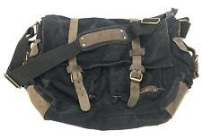Berchirly Military Canvas Leather Messenger Bag Crossbody Laptop Travel Black