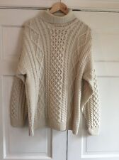 CARRAIG DONN 100% Wool Ivory Cableknit Turtleneck Sweater L Fisherman Ireland