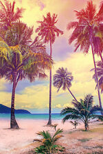 STUNNING PALM TREE SUNSET CANVAS PICTURE #251 VINTAGE RETRO WALL HANGING CANVAS