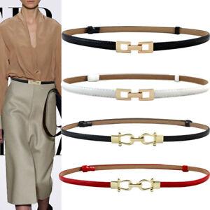 Belt Thin Adjustable Leather Belts Elastic Alloy Buckle Dress Waist Belts US