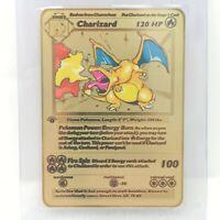 Pokemon Charizard Base Set Shadowless Gold Metal Custom Textured Rare Card