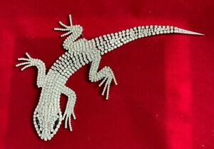 Butler and Wilson Crystal Glass Lizard Corsage Pin LARGE