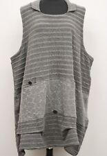 PRISA BERLIN FASHION DESIGNS HOODED SLEEVELESS VESTOVER TUNIC TOP GRAY Sz 1 $289
