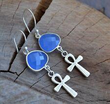 earrings, gemstone earrings, blue (E760) Ankh earrings, key of life