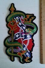 "Snake Flag Back Patch Motorcycle Biker Vest Jacket Tattoo Art 7"" x 12"" Iron On"