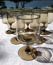 Mid Century Modern Red Wine Glasses SET 6 Clear smoked Vintage Fabulous!
