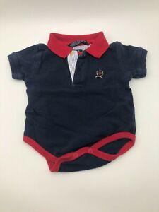 Vintage 1 Piece Tommy Hilfiger Infant 3-6 Months Blue Red Collar Baby Bodysuit