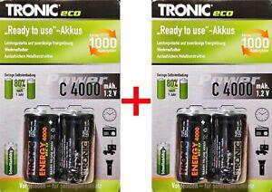 4x TRONIC - C / Baby Ni-MH Akkus / 4000mAh 12V / wiederaufladbare Batterie Akku
