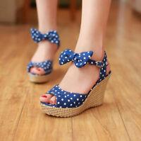 Womens Wedge Heels Ankle Strap Platform Slingback Sandals Open Toe Buckle Shoes