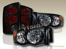 02-05 Dodge Ram 1500 / 03-05 2500 3500 Headlights Black + 02-05 Ram Tail Lights
