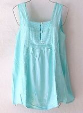 NEW~Aqua Blue Crochet Lace Peasant Blouse Shirt Boho Beach Tank Top~4/6/S/Small