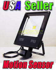 120V AC 50W Cool White LED Flood Light PIR Motion Sensor Outdoor Garden Lamp