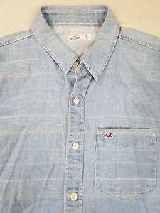 Hollister Mens Short Sleeve Shirt Small Blue Denim Cotton