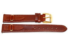 16MM BROWN OILED STITCHED LEATHER WESTERN STYLE WATCH BAND STRAP