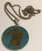 Stylish Vintage Mexican Turquoise Chip Pendant With Design Necklace
