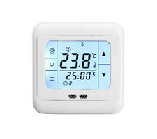White Backlight LCD Touchscreen Underfloor Heating Program Thermostat Controller