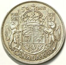1940 Canada 50 Cents Die Crack Through Date Silver #11168