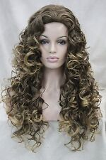 sexy brown mix golden blonde tip curly long synthetic hair full women' daily wig