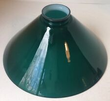 """Vintage Green Cased Glass Industrial Lamp Shade 2 1/4"""" Fitter Cone Shape"""