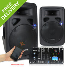 "Pair PL-12"" Active Powered DJ PA Speakers Vexus USB SD MP3 Bluetooth Mixer 1200W"