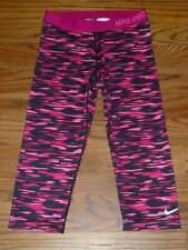 NIKE PRO DRI-FIT Black Pink Womens Athletic Activewear Capri Tight Leggings Sz L