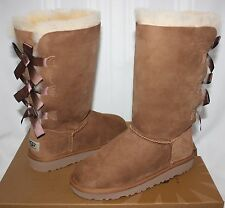 Ugg Kids Bailey Bow Tall Boots Chestnut Suede 1007309 NEW
