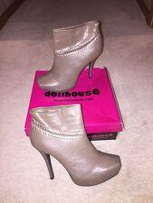 "DOLLHOUSE Sloan Taupe Fashion Ankle Boots Stilleto 5"" heels w/1"" platform NWB"