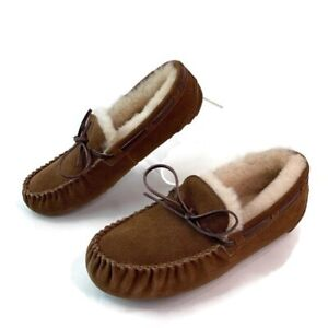 Fireside by Dearfoams Womens Fur Lined Brown Leather Laced Up Moccasins sz 9