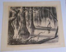 ORIGNL HENRY C. PITZ 1947 pencil-signed Lithograph, Swamp Land,Boatman,Inscribed