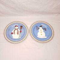 Sakura Debbie Mumm Snowman Salad Dessert Plates Set of 2 Christmas Holiday Decor