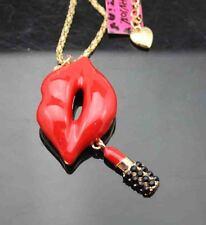 H599   Betsey Johnson Crystal Enamel  Lips lipstick Pendant Sweater Necklace