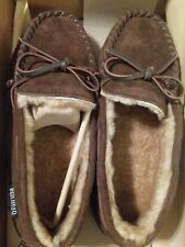 Red Head Cabin Moc Slippers Brown Suede Plaid Fleece Lined Men's Sz 9M New