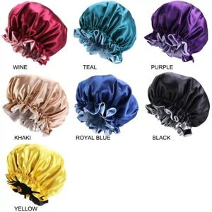 Large Satin bonnet for Curly Hair, Double Layer Reversible Silk Hair Shower Cap