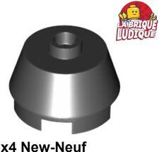 Lego - 4x Brick round Cone 2x2 Truncated Stubby Black/Black 98100 New