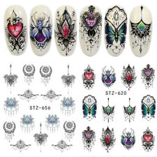 2Pcs Lolita Punk Butterfly Flower Nail Art Water Decal Transfer Stickers French