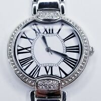 Bronzo Italia Pave' Crystal Bezel Panther Link Watch Silver Tone Needs Battery