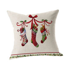 Merry Christmas Pillow Case Linen Sofa Cushion Xmas Car Pilloe Cover Home Decor