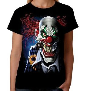 Velocitee Ladies T-Shirt Joker Clown Skull Horror Circus Evil Biker A18008