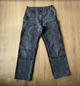 Carhartt Double Knee B01 Distressed Pants Black Mens 31x30 Repair Faded BLK