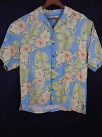 Tommy Bahama Men's Large Short Sleeve Button Down 100% Silk Shirt